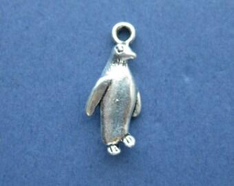 10 Penguin Charms - Penguin Pendants - Penguins - Penguin - Animal Charm - Antique Silver - 23mm x 10mm -- (No.38-10531)