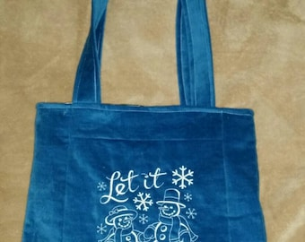Let it snow snowman  reversible  tote bag handmade embroidered book bag  shopping bag reusable grocery bag craft tote