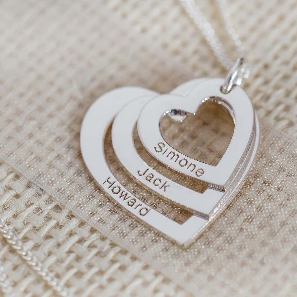 Family 3 hearts and names necklace personalised silver ampliar aloadofball Choice Image