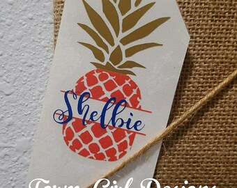 Pineapple Decal / Decal / Tumbler and Decal / Monogram Decal / Name Decal / Yeti Decal / Cup Sticker / RTIC / 30 oz Tumbler / Sticker