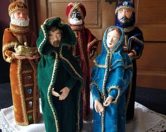 Vintage handmade bottle nativity set