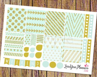ARIA Sweet Mint Gold Glitter Planner Stickers Weekly Planner Stickers Weekly Stickers Weekend Banner Heart Checklist Vertical Planner 145
