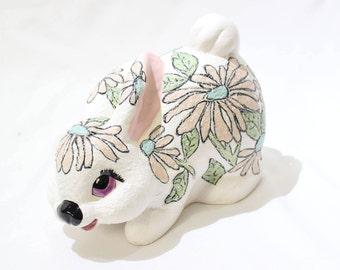 Vintage Ceramic Pink Floral Bunny Rabbit Statue, Vintage Decor, Easter, Easter Bunny, Easter Decorations