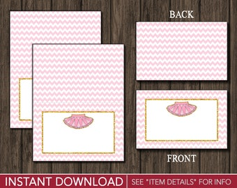 Tutu Tent Cards - Ballerina Buffet Cards - Food Labels - Place Cards - Printable Digital File - INSTANT DOWNLOAD