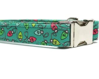 Holiday Lights Dog Collar | Your choice of metal buckle or plastic buckle | Holiday Dog Collar | Winter Dog Collar | Colorful Dog Collar