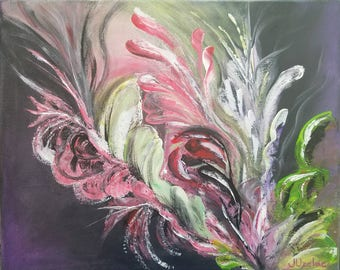 Jungle flower, abstract original painting