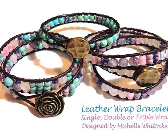 Leather Wrap Bracelets (Single, Double, Triple) Tutorial PDF