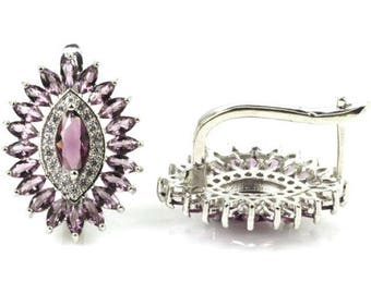 Sterling Silver Rich Purple Sapphire Gemstone Earrings With AAA CZ Accents