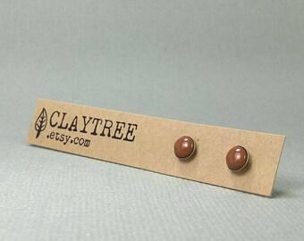 TOFFEE Stud Earrings - Brown - Hypoallergenic - Surgical Steel Studs  - Tiny Post Earrings - 4mm 5mm 6mm - Polymer Clay - Everyday Earrings