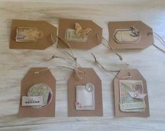 Set of 6 tags in kraft - Vintage