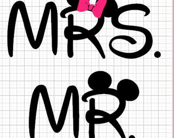 Mr. or Mrs. with Mouse Ears......Tshirt....Front can Have Monogram or name...Mr. or Mrs. on back of Tshirt...You Choose...Great for Vacation