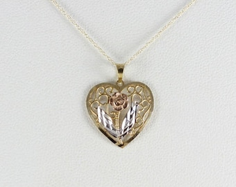 """10K Gold Heart Necklace Yellow, White, & Rose Gold Flower Pendant 16"""" Chain"""
