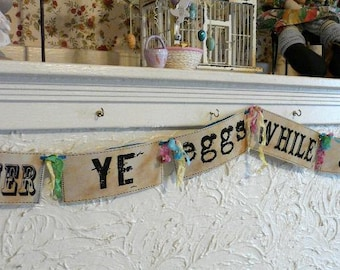 Easter Gather ye eggs digital banners pdf - party garland 2 sheet collage bunny rabbit saying
