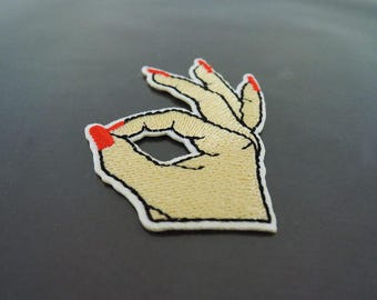 Iron on Patch - Finger Patch Feminist Finger with Red Nail Patches Fingernail OK Hand Patch Iron on Applique Embroidered OKAY Sewing Patch