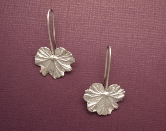 Geranium Leaf Earrings~Shiny Sterling Silver Leaves~Hand Made Artist Jewelry~Botanical/Gardener/Nature