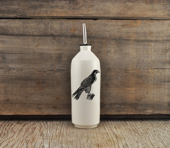 Handmade white glossy porcelain cruet with Peregrine Falcon drawing by Cindy Labrecque, Canadian Wildlife collection