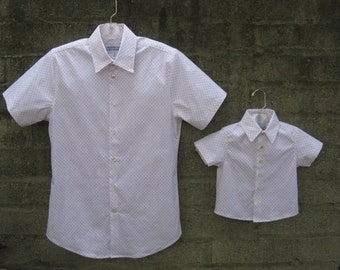 BOYS SHIRT- Father son matching short sleeve shirts! (sold separately) Boys button up shirt Size 6 months-5T. Perfect for birthdays & photos