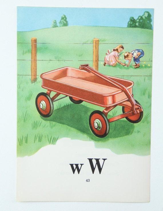 Alfabeto letra impresiones W Wagon-libro Color
