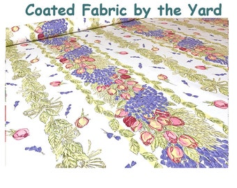 62 inches wide Coated Fabric by the Yard - Provence Roses and Lavender -  Waterproof Acrylic Coated Fabric -