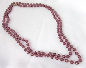 Necklace vintage art deco style glass faceted purple amethyst