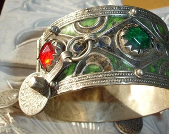 Moroccan  tarnished enamel bracelet cuff with red jewels, enamel + silver (tested) coins