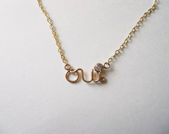 Oui Necklace Pendant with Chain - Solid 14K Gold, Gold Filled or Sterling Silver
