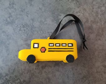 Hand Painted School Bus Ornament