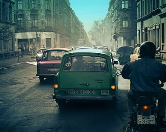 Street, Dresden, East Germany, 1990. Hand Coloured Photograph from 35mm Black and White Film Negative.