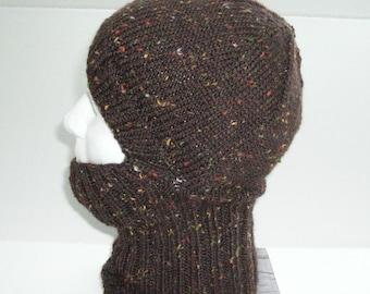 Chestnut Brown Tweed Knit Helmet Liner, Balaclava, or Ski Mask