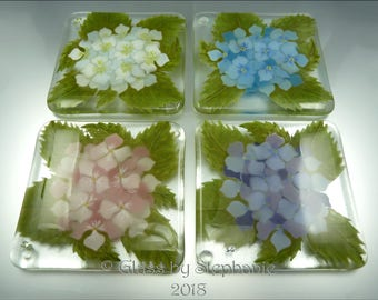 HYDRANGEA COASTER SET – Hand painted and Fused Glass Coasters - by Stephanie Gough sra fhfteam leteam