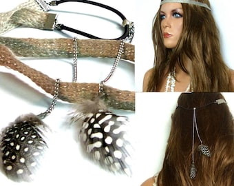 Fabric headband and feathers N5212