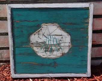Wooden Mosaic Seashell Wall Hanging, Weathered Wood Style Decor, Coastal Living