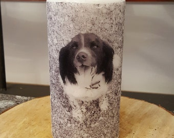 Personalised Photo candle 15cm white pillar