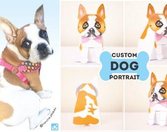 Custom Dog portrait / Dog Portrait / Custom Pet Portrait / Dog Lover Gift / Dog Drawing / Dog Memorial - by Kooee Papercraft