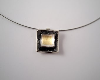Geometric pendant made of gold and silver with textured surface, Square pendant, Mixed metal pendant, Gift for her, Gift for daughter.