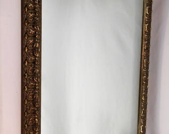 Large Framed Mirror Designer Gold Over Red Clay High End Luxury Mirror
