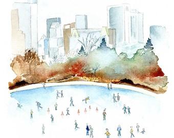 New York Print. NYC Skyline. Ice Skating Central Park. Watercolor Landscape Illustration Art. Housewarming idea. Wall Art. Gift Under 15