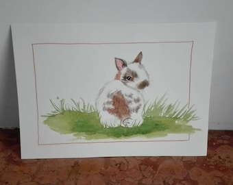 little rabbit on the grass, original watercolor painting