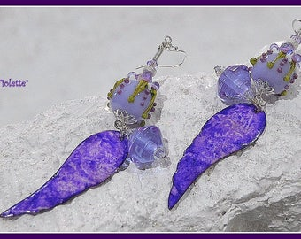 Purple Earrings,Colorful Earrings,Lampwork and Enamel Earrings,Flower Earrings,Floral Jewelry,Dangle Earrings,OOAK Earrings - VIOLETTE