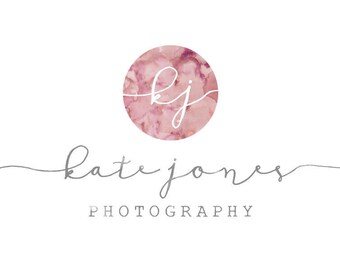 Premade Watercolor Photography Logo and Watermark Design - Photography or Boutique Logo -  Circle Initials Logo - Business Branding
