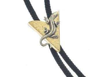 Lizard   Bolo Tie,  , antique brass  bolo charm made in USA