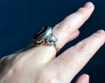 Banded Agate and Sapphires- Snake Talisman Ring