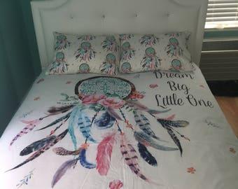 "Dream catcher Duvet Cover - ""Dream Big Little One"" - Twin Duvet Cover - Dream Catcher Toddler Comforter - Baby Bedding - Crib bedding"