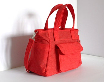 Stock SALE - Red Water-resistant nylon bag, Shoulder bag, Tote, Handbag, Messenger, Purse, Travel bag, 3 Compartments, 8 Pockets - Mini Nuch