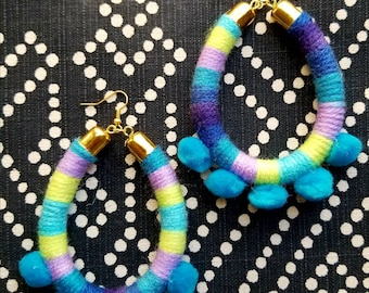 Pom Pom Hoops // Teal, Purple, Lime