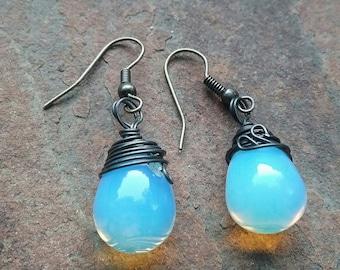 Sea Opalite wire wrapped Drop (8x15 mm) earrings.