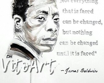 James Baldwin Art Print Writer Poet With Quote Watercolor Illustration Portrait Wall Decor Limited Edition Poster Print