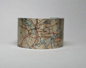 Deer Isle Maine Map Cuff Bracelet Unique Gift for Men or Women