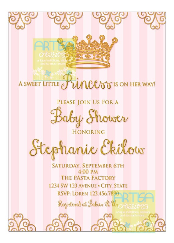 Gold Pink Princess Baby Shower Invitation Diy Princess Crown