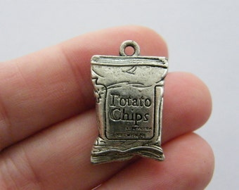 2 Potato chips charms antique silver tone FD343